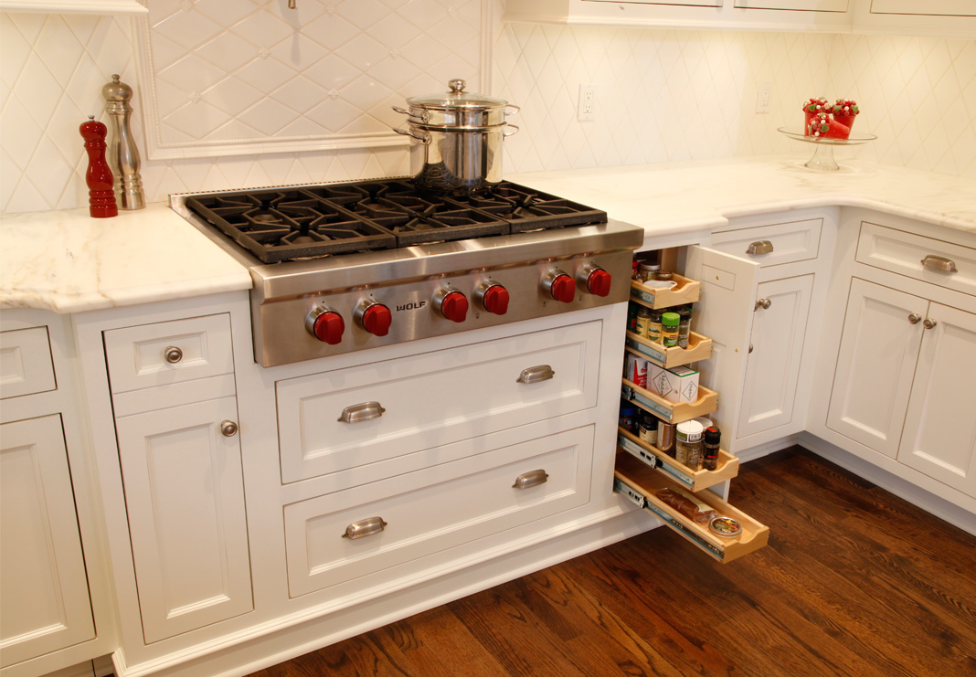 kitchen stove and storage after