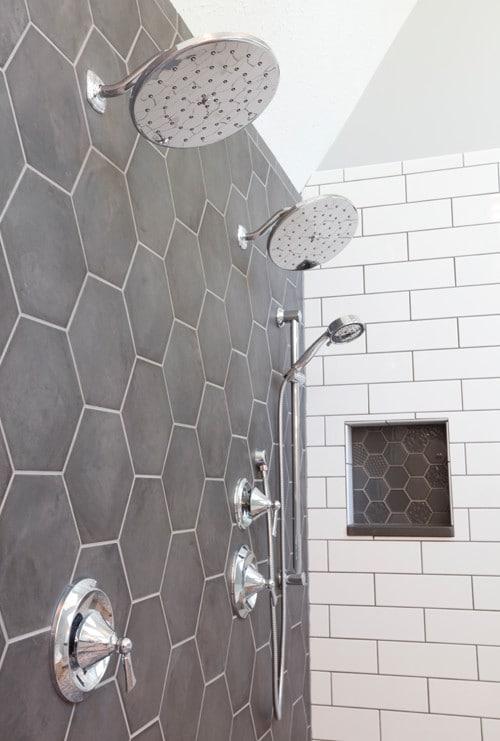 Shower with dual rain showerhead fixtures
