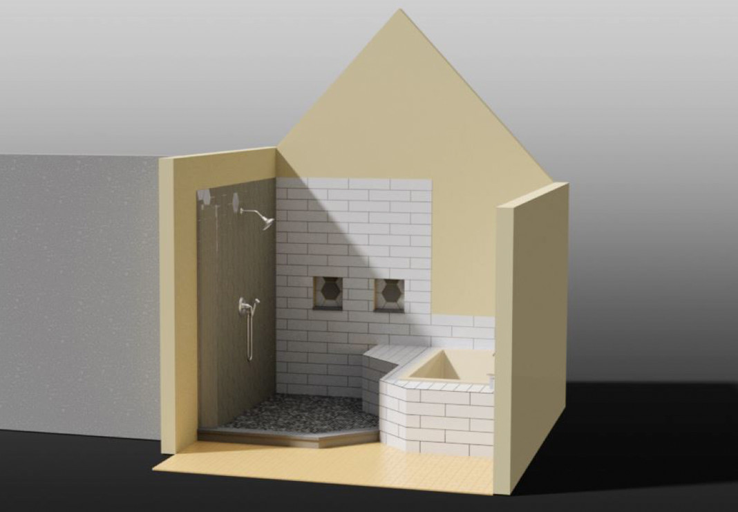 Bathroom Shower and Tub Rendering