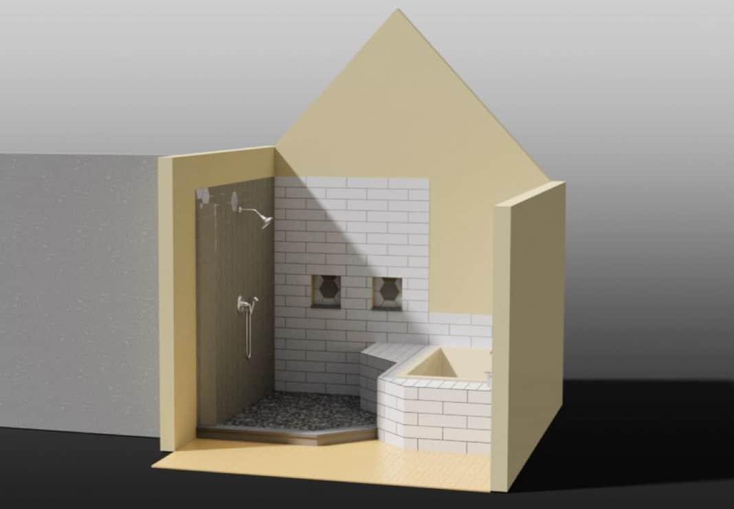 Bathroom Shower and Tub Rendering
