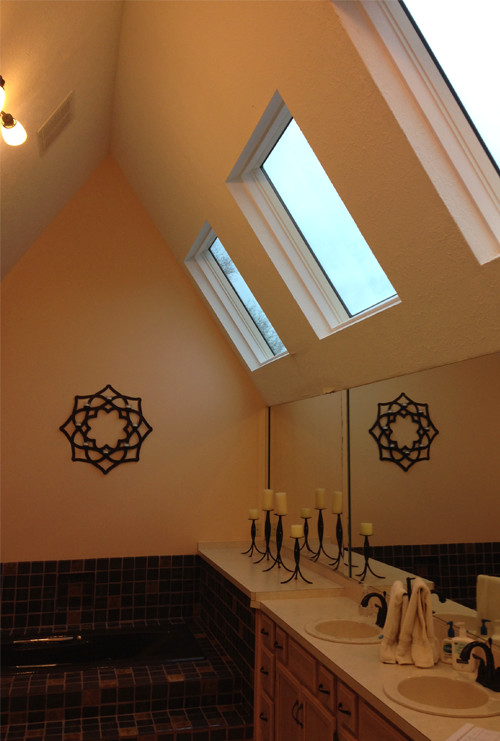 Vaulted Ceiling Above Dark Tile Tub - Before Photo