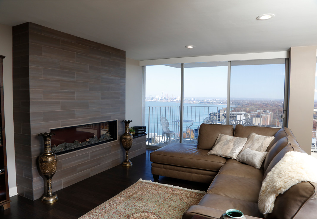 Linear electric fireplace with beautiful downtown Cleveland city view in background