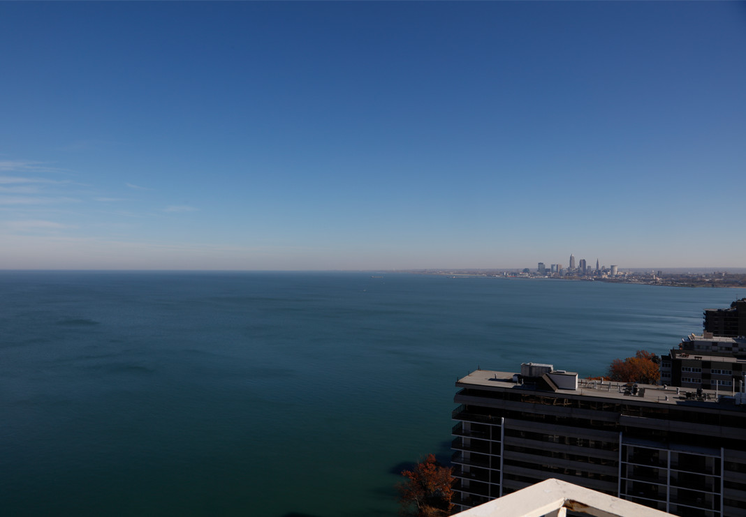 Gorgeous View from Balcony of Lake Erie and Downtown Cleveland