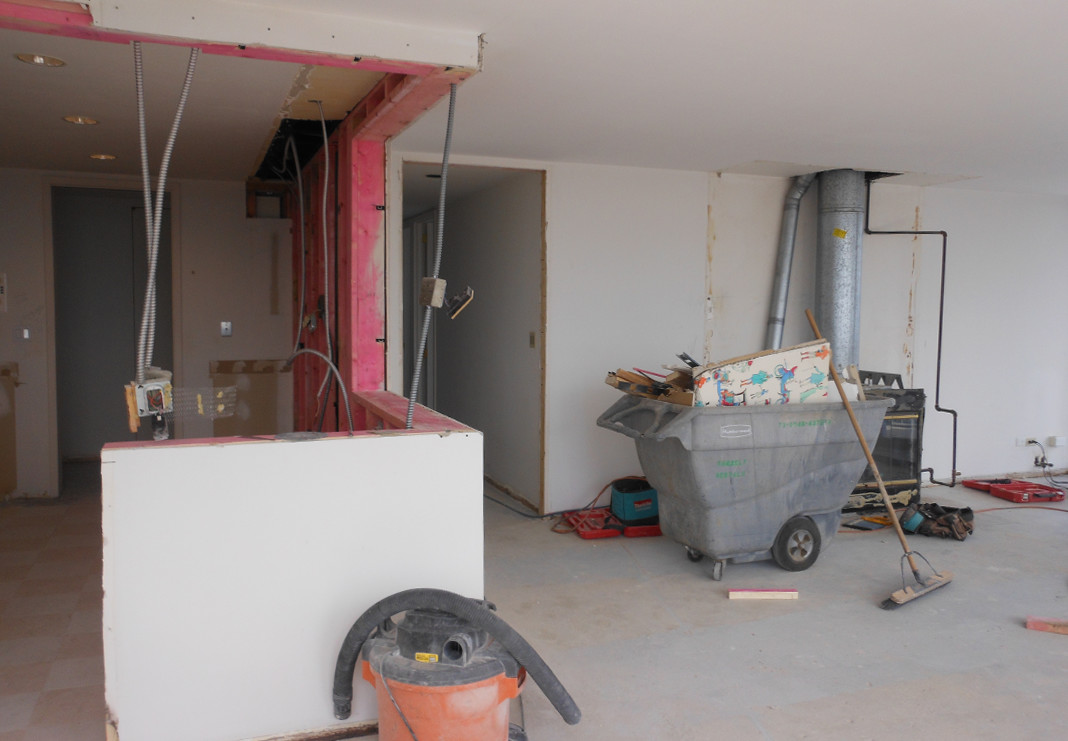 Removal of Wall to Open up Kitchen Space and View - During Photo