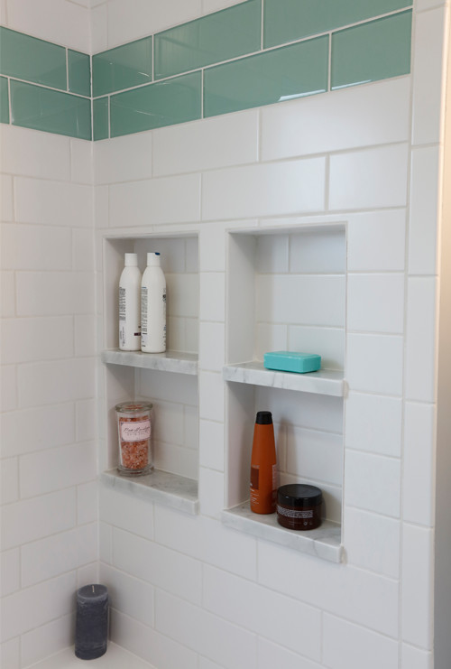 Aqua Accent Subway Tiles with Recessed Nooks