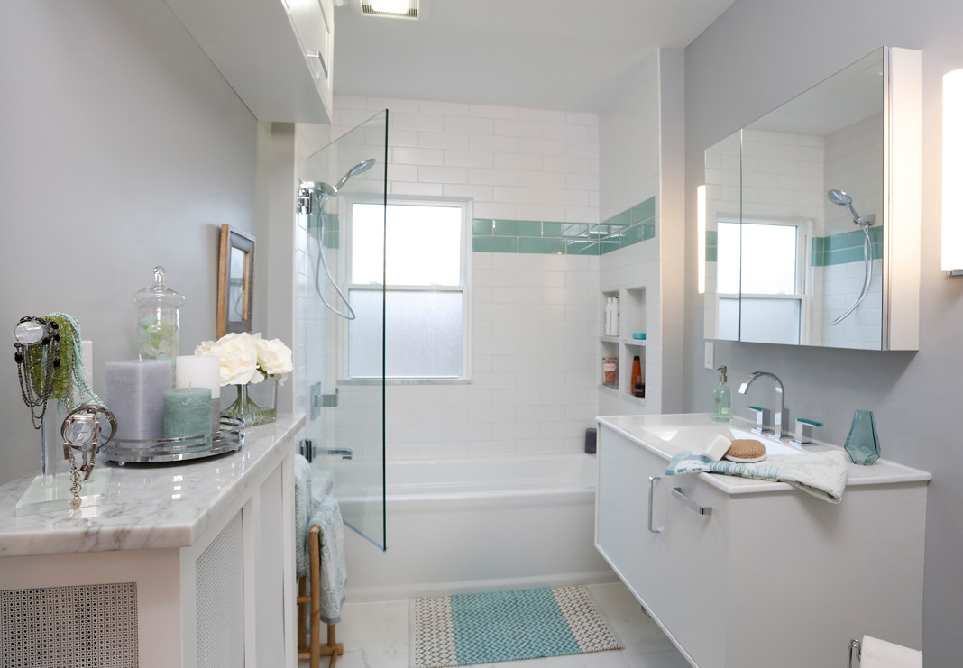 Gorgeous Bathroom Renovation with Aqua Accents