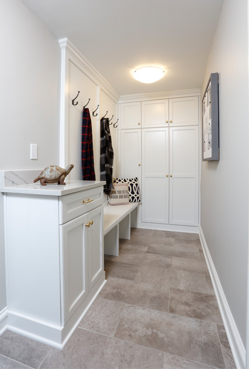 Custom cabinets in newly remodeled mudroom