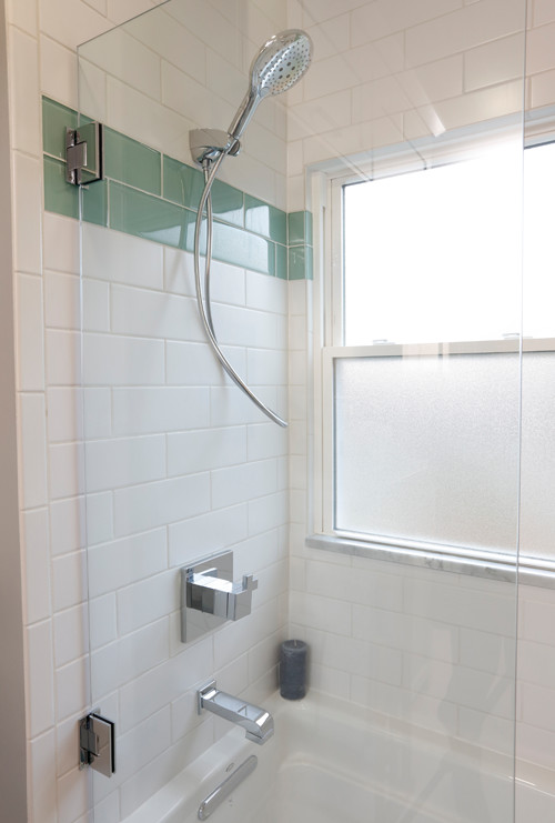 Aqua Accent Subway Tiles in Shower