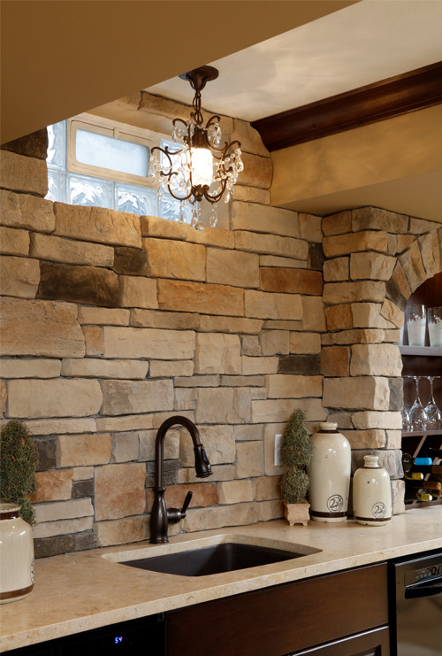 Basement Bar: Sink and Stone Backsplash