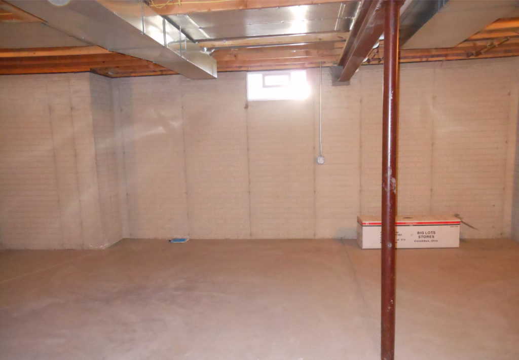 Unfinished Bare Basement - Before Photo