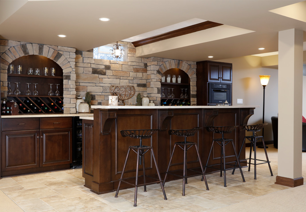 Basement Bar With Stonework Backsplash