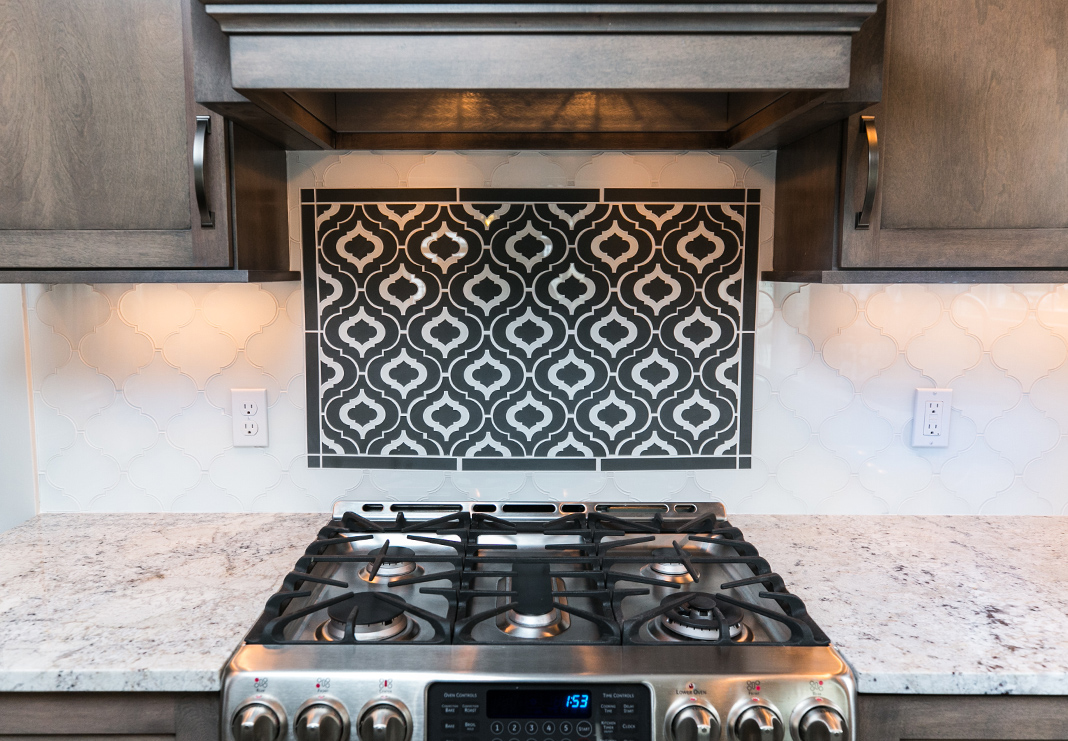 Glass Tile Focal Point Backsplash
