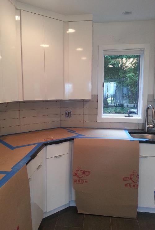 During Renovation Backsplash Tile Installation