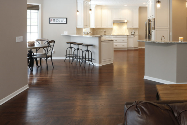 Wood flooring in white kitchen