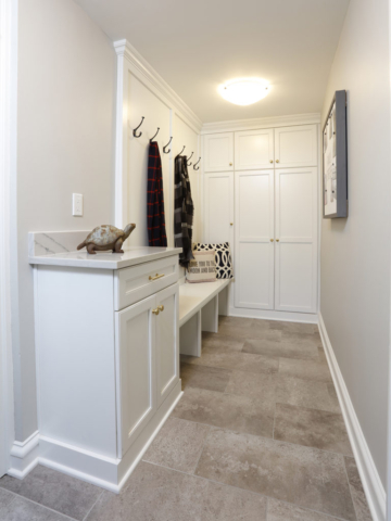 Tile floor in mudroom