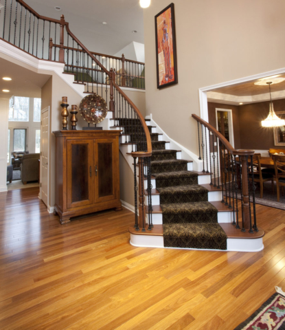 Two-story foyer features open staircase and wood floor