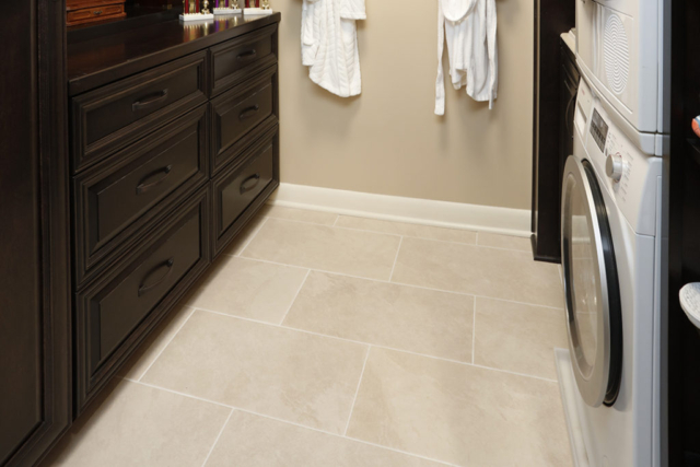 Tile floor in master closet