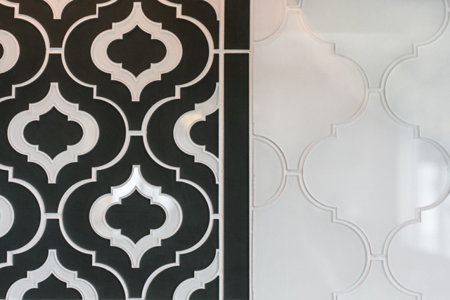 Kitchen backsplash with custom glass tile inlay