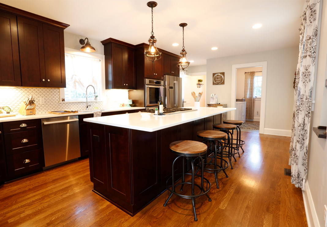 Shaker Style Kitchen with Red Oak Flooring