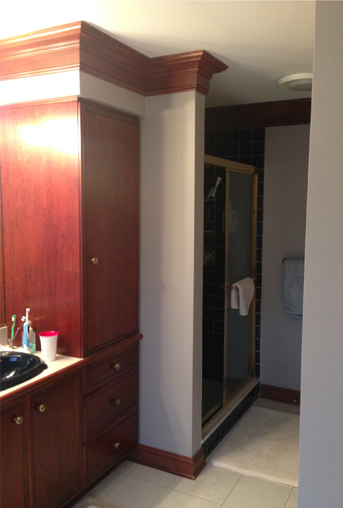 Before: Cramped Shower Stall