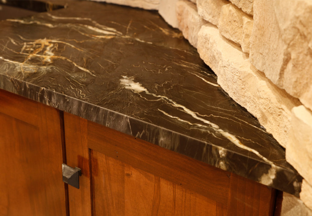 Counter Top, Stone Wall and Wood Cabinet Detail