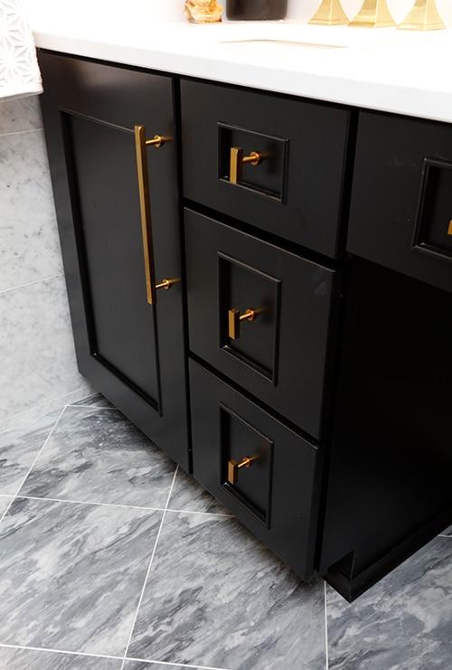 Black Vanity Cabinets Brass Hardware