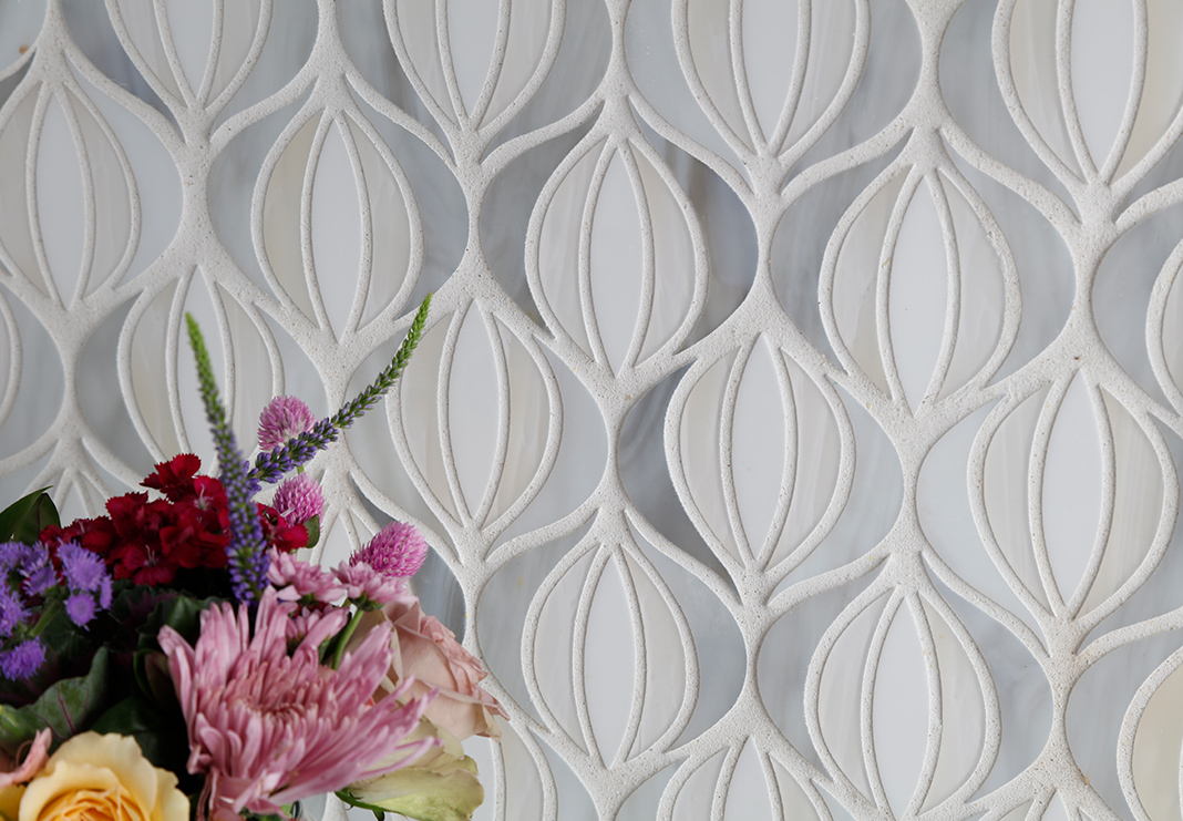Gray Cream Mosaic Backsplash