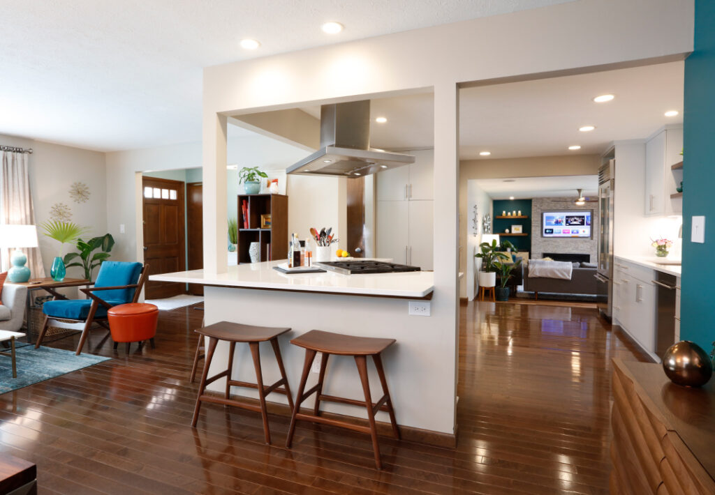 Pops of color in a modern open kitchen and living room