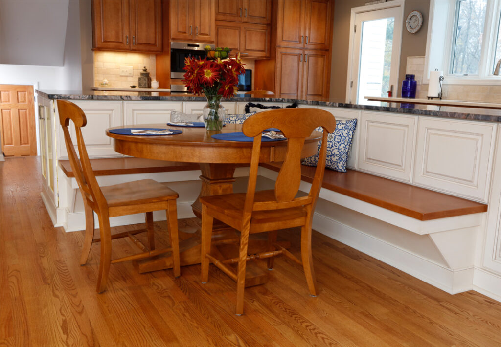 built in bench seating in eat in kitchen