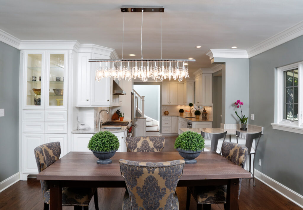 kitchen with large light fixture