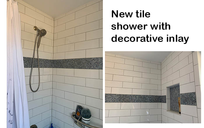 Tub and Shower with Decorative Tile